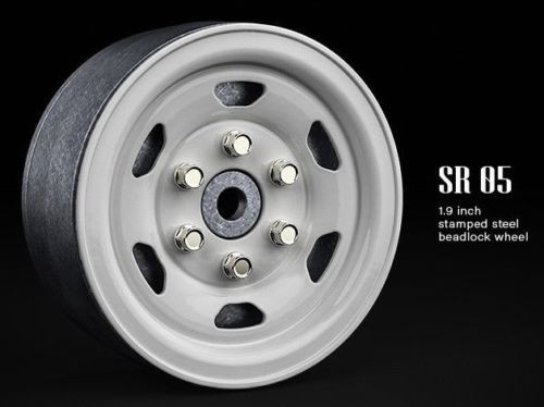 Gmade 1/10 SCALE TRUCK RIMS 1.9 STEEL STAMP Beadlock Wheels WHITE #GM70506