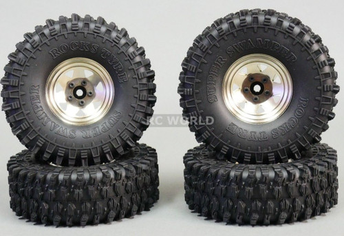 1/10 SCALE TRUCK RIMS 1.9 STEEL STAMPED Beadlock Wheels 120MM Rock Tires SILVER