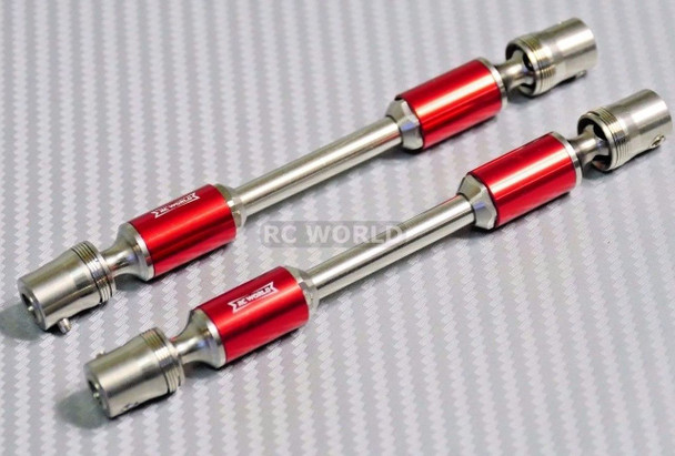Axial SCX10 Hardened RED STEEL (2) DRIVE SHAFTS Rock Crawler RED