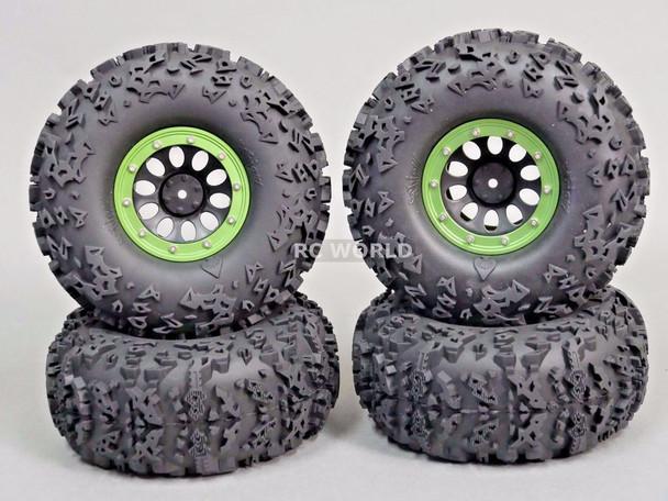 "Axial 2.2 Rock CRAWLER Beadlock  Wheels & TIres 140mm 5.5"" -Set Of 4- GREEN"