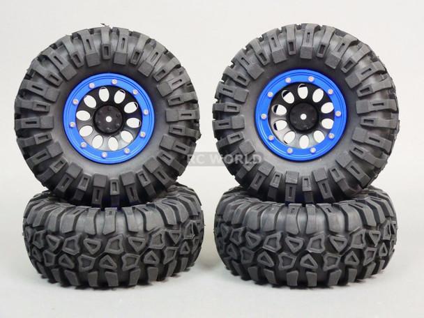 For Traxxas TRX-4 Rock CRAWLER Beadlock Wheels & TIres 130mm -Set Of 4- BLUE