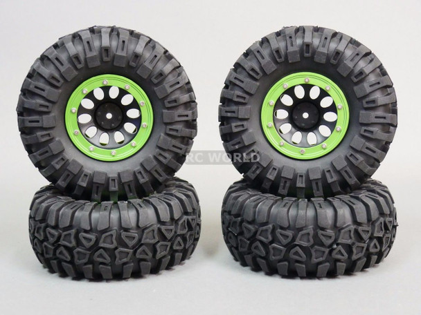 For Traxxas TRX-4 Rock CRAWLER Beadlock Wheels & TIres 130mm -Set Of 4- GREEN