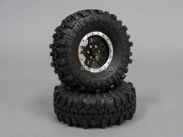 Axial RC 1/10 Scale Truck Rims Wheels 1.9 BEAD LOCK Metal Aluminum BLACK (2 RIMS)