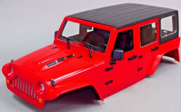 xial RC Scale Truck Body Shell 1/10 JEEP WRANGLER RUBICON Hard Body +  ROLL BARS