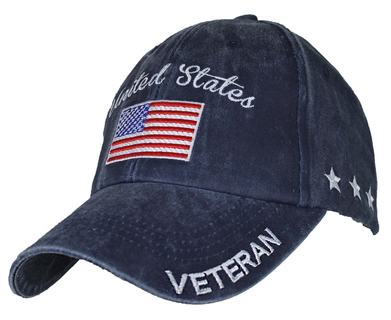 511150c5c28 ... where can i buy us military veteran u.s. military with flag washed navy  blue baseball cap