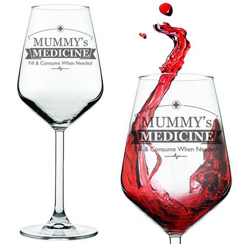 Mummy's Medicine Novelty Red Wine Glass