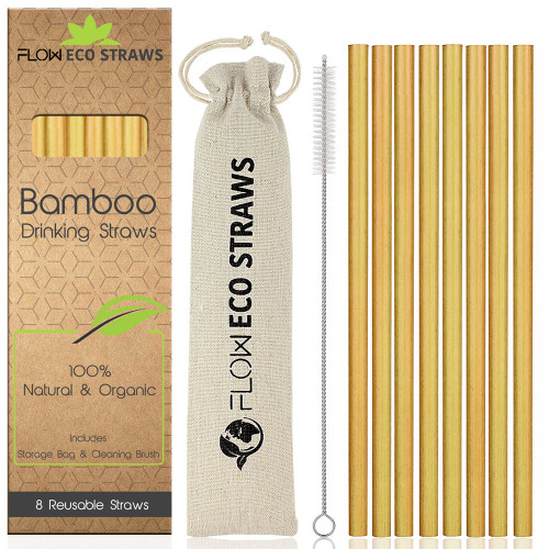 FLOW Barware Reusable Bamboo Straws