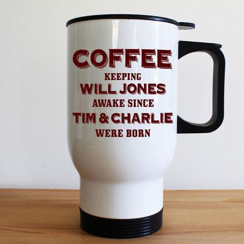White Travel Mug With Handle