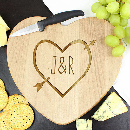 Personalised Chopping Board Heart & Arrow Design