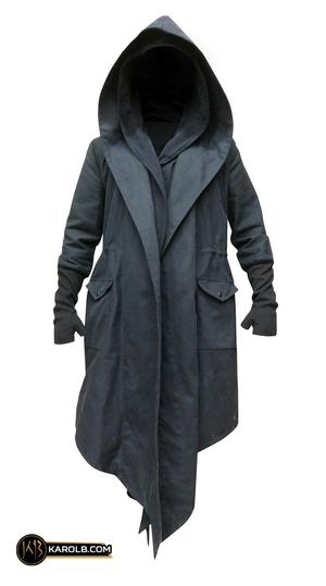 Wanderer Double-Hood Wrap Asymmetrical Cyberpunk Dystopian Jacket Black