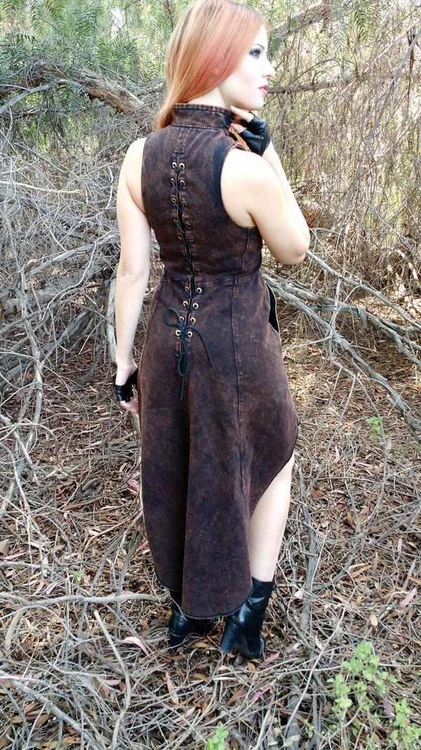 FURY Zip-up Goth Black Dress High-Low Pockets