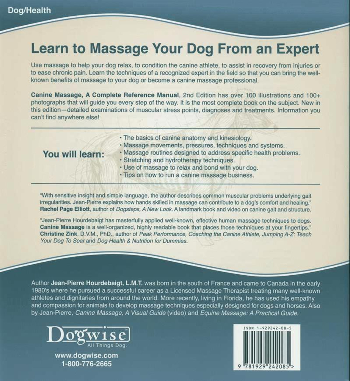 Canine Massage - A Complete Reference Manual - Dogwise
