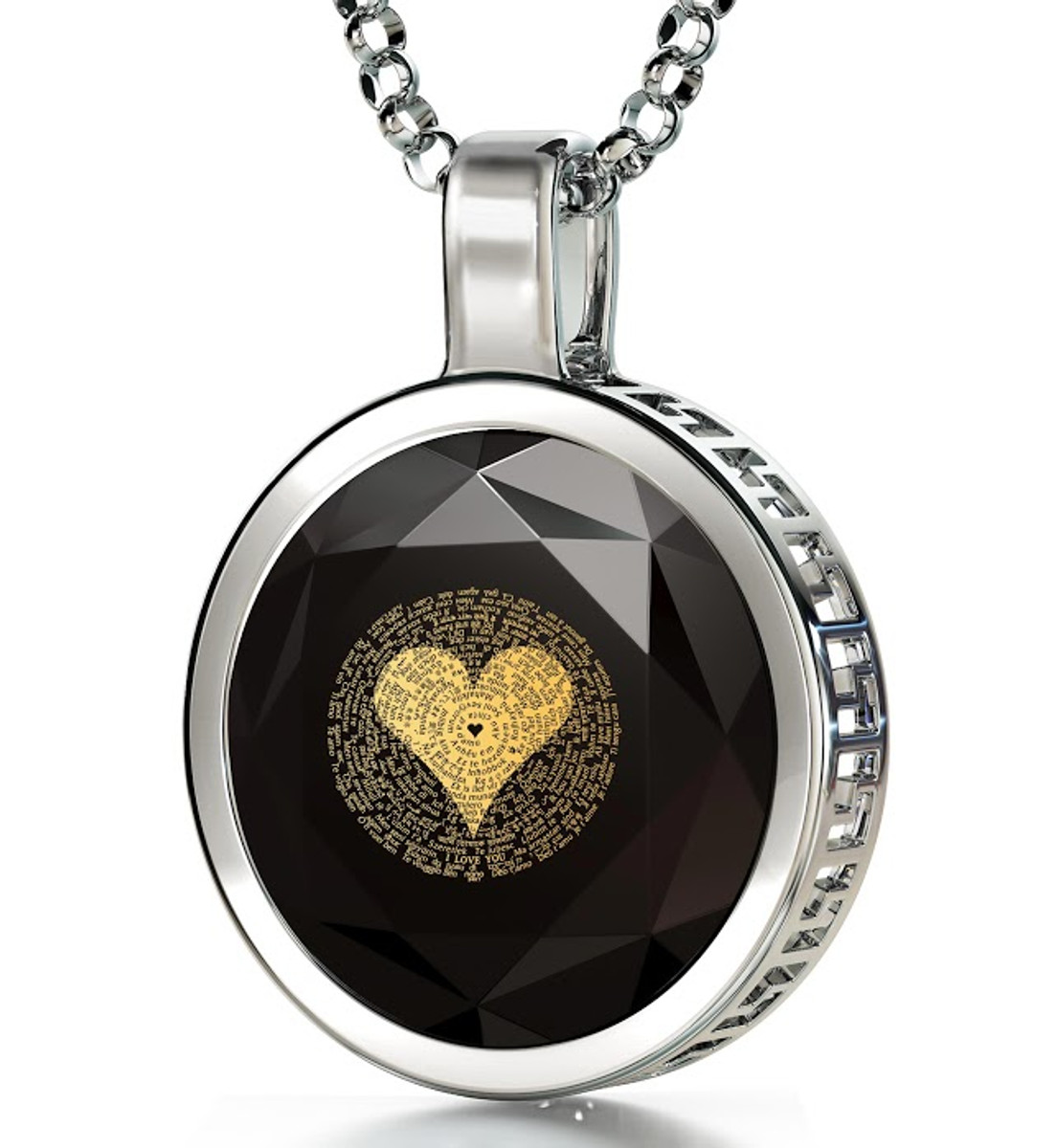 Nano Jewelry Silver Circle I Love You in 120 Languages Necklace