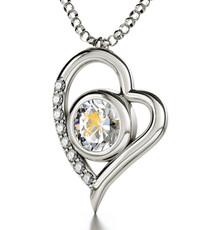 Aquarius Gold Inscribed Zodiac Necklace - Silver Heart