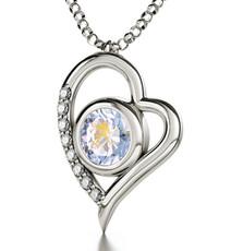 Aquarius Gold Inscribed Necklace Silver Heart