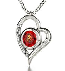 Aquarius Gold Inscribed Necklace - Silver Heart