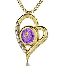 Aquarius Gold Inscribed Violet Necklace