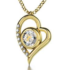 Sagittarius Gold Heart Clear Necklace