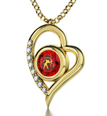 Inspirational Jewelry Red Necklace Gold Heart Sagittarius