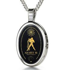 Aquarius Black Necklace Silver Oval