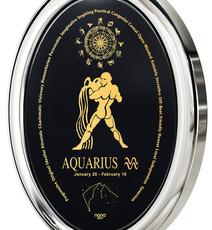 Inspirational Jewelry Black Necklace Silver Oval Aquarius