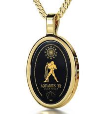Aquarius Black Necklace Gold Oval