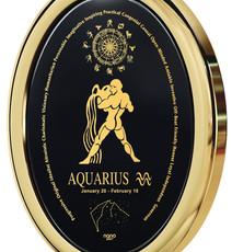 Inspirational Jewelry Gold Oval Aquarius Black Necklace