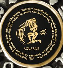 Inspirational Jewelry Black Necklace Aquarius Zodiac Wheel