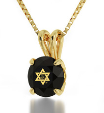 Black Inspirational Jewelry Circle Gold Star of David Necklace