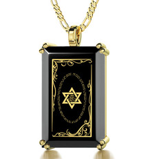 Black Inspirational Jewelry Gold RectangleStar of David Necklace