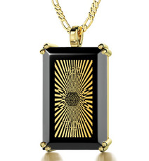 Black Inspirational Jewelry Gold 72 Names in Star of David Necklace