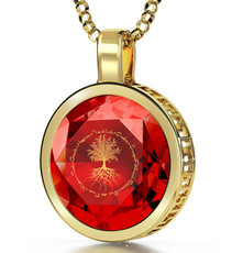 Inspirational Jewelry Gold Tree of Life Red Necklace