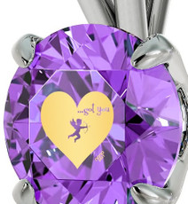 Purple Inspirational Jewelry Cupid's Got You Silver Necklace