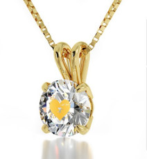 Inspirational Jewelry Clear Necklace Cupid's Got You Gold