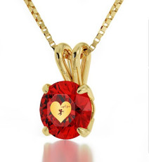 Red Inspirational Jewelry Cupid's Got You Gold Inscribed Necklace