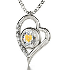 Clear Cupid Got You Silver Heart necklace