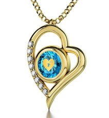 Nano Jewelry Teal Cupid's Got You Gold Heart Necklace
