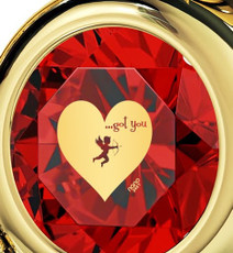 Inspirational Jewelry Red Necklace Cupid's Got You Gold Heart