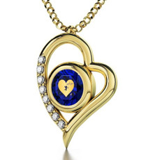 Inspirational Jewelry Cupid's Got You Gold Heart Blue Necklace