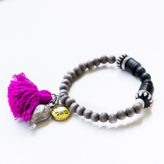 7Stitches Kabbalah Protection and Magenta Tassel Bracelet