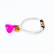 7Stitches Kabbalah Protection Gold Charm and Pink Tassel Bracelet