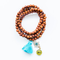 7Stitches Kabbalah Bayong Wood Tassel Bracelet/Necklace in Tan Wood