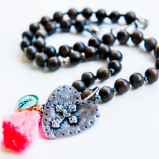 7Stitches Dark Gray Wood Kabbalah and Silver Heart