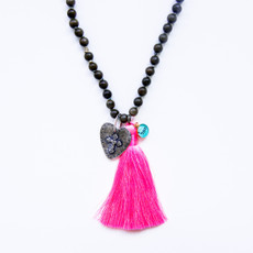 7Stitches Dark Gray Wood Kabbalah and Pink Tassel Necklace