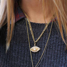 Evil Eye Necklace - Gold, Medium Eye With Crystal Edges & Center