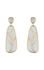 Marcia Moran Light Grey Leaf Branch Earrings