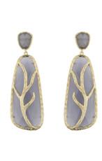Marcia Moran Dark Grey Leaf Branch Earrings