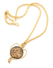 Anat Collection Long heart shape pendant filled with Swarovski crystals Necklace