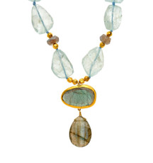 Aqua Nugget and Labradorite Necklace by Nava Zahavi