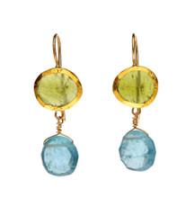Botanic Bassonite and Aquamarine Earrings by Nava Zahavi